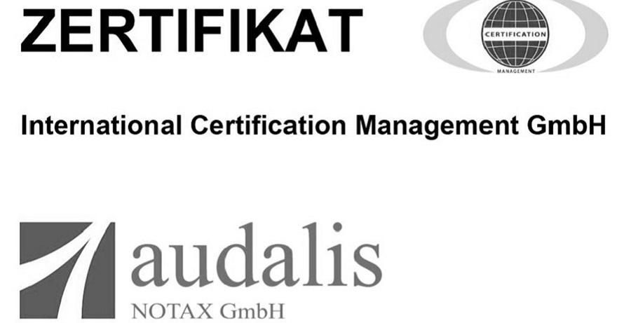 audalis NOTAX GmbH erneut erfolgreich zertifiziert